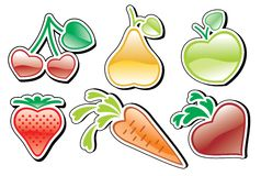 Heart-fruits. Fruits and vegetables icons, made of stylized hearts Royalty Free Stock Photography