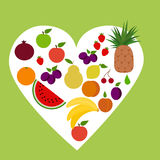 Heart of fruits. Set of objects for the store Stock Images