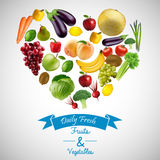 Heart of fruits and vegetables with blue ribbon. Illustration of Heart of fruits and vegetables with blue ribbon Royalty Free Stock Photos