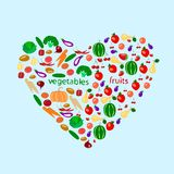 Heart with fruits and vegetables stock illustration