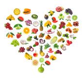 Heart of fruits and vegetables Royalty Free Stock Photo