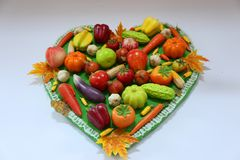 Heart of fruits and vegetables Royalty Free Stock Photos