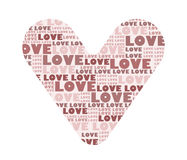 Heart full of love. Image of a heart covered with word love in nuance of red and pink color Vector Illustration