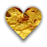Heart full of panettone texture Royalty Free Stock Photo