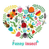 Heart funny insect and plants vector illustration