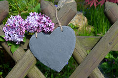 Heart in the garden fence Royalty Free Stock Photos