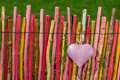 Heart on garden fence Royalty Free Stock Photos