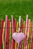 Heart on garden fence Royalty Free Stock Photo