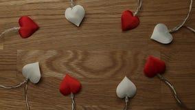 Heart garland wooden desk background