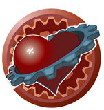 Heart with a Gear around it. vector illustration