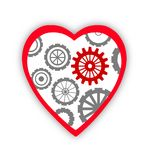 Heart with gears inside over white Royalty Free Stock Image