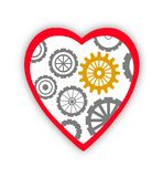 Heart with gears inside over white Stock Photos