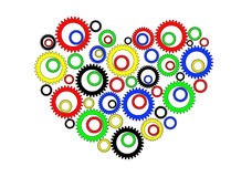 Heart with gears. Inside. Vector illustration Royalty Free Stock Photo