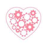 Heart with gears inside Royalty Free Stock Images