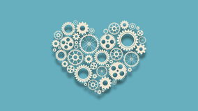 Heart with gears stock footage