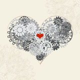 Heart with gears, vector background for your design Stock Photos