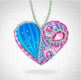 Heart of gems and ribbons Stock Images
