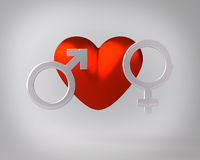 Heart with Gender Symbols Royalty Free Stock Images