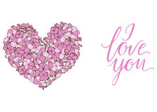 Heart of gently pink phlox flowers isolated on white background and lettering I LOVE YOU. Vector illustration. Royalty Free Stock Photos