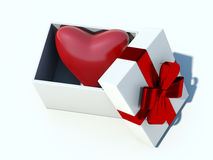 Heart gift. Isolated on blue Royalty Free Stock Photography