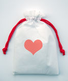 Heart gift bag on white Stock Photo