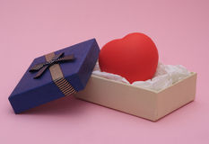 Heart in a gift box Royalty Free Stock Images