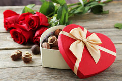 Heart gift box Royalty Free Stock Images