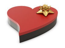 Heart gift box and golden flower on the top Royalty Free Stock Images