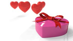 Heart gift box and hearts, 3d rendering. Heart gift box and hearts, 3d render Stock Photography