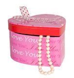 Heart Gift Box and Pearls Isolated royalty free stock photo