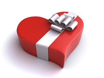 Heart gift box. Heart shaped red gift box on the white background (3d render Royalty Free Stock Photography