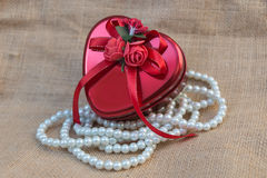 Heart gift box. stock image
