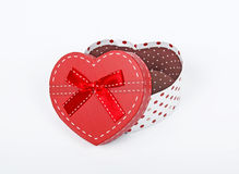Heart gift box. On white background Stock Photos