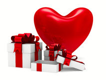 Heart and gift box on white background Stock Photography