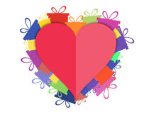 Heart with gift boxes. Festive background postcard. Vector. Illustration Royalty Free Stock Photos