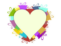 Heart with gift boxes. Festive background postcard. Vector. Illustration Stock Photos
