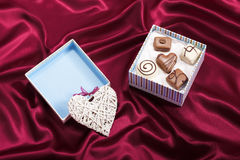 Heart gift with candies on box Royalty Free Stock Image