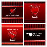 Heart gift card icon set. Love icon card template vector illustration