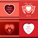 Heart gift card icon set. Love  icon card template Royalty Free Stock Images