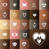 Heart gift card icon set. Love icon card template stock illustration