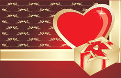 Heart and gift on the decorative background. Vector illustration Stock Image