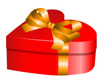 Heart gift. With golden bow for Valentines day Royalty Free Stock Photo