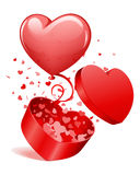 Heart Gift Open With Fly Hearts And Balloon Royalty Free Stock Photography