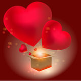 Heart gift present Valentines day background Royalty Free Stock Image
