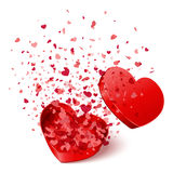 Heart Gift Present With Fly Hearts Stock Image