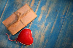 Heart and gift Stock Image