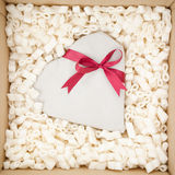 Heart Gift with a Red Ribbon royalty free stock photography