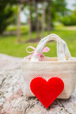 Heart and gift on the rocks Royalty Free Stock Image