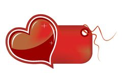 Heart Gift Tag Icon or Logo. Gift tag with red glossy heart - could be useful for chocolate, floral, candy, and, or any other type gift shops - isolated on white Royalty Free Stock Image