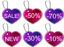 Heart gift tags. Different coloured Heart gift tags, isolated Stock Images